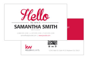 Keller Williams realtor business cards, modern clean, simple
