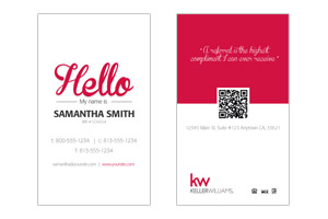 Business Cards for Keller Williams realtor and agents