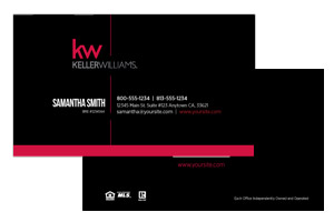 Pre-designed Keller Williams agents business cards design and print