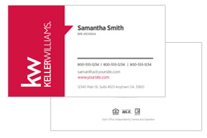 Agent business cards for Keller Williams realtors
